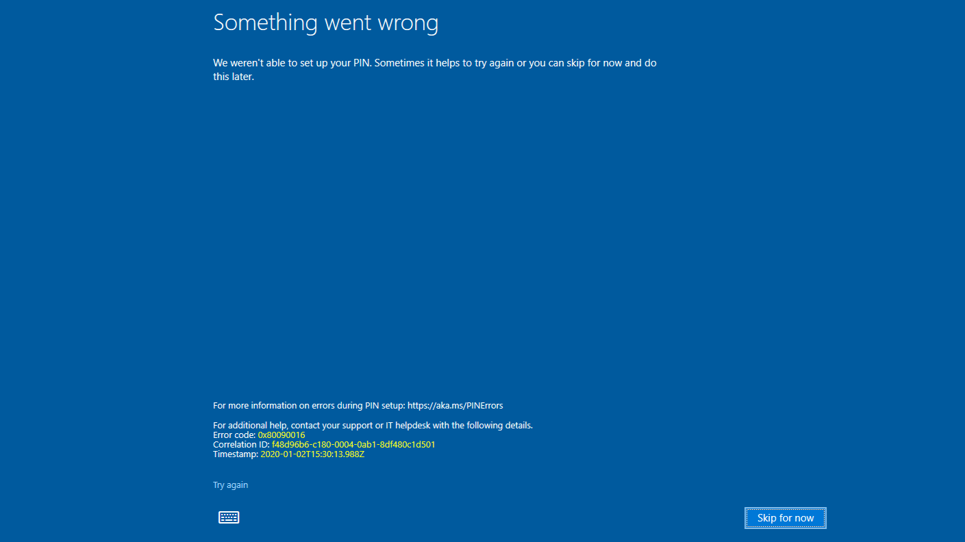 Windows Hello pin error 0x80090016